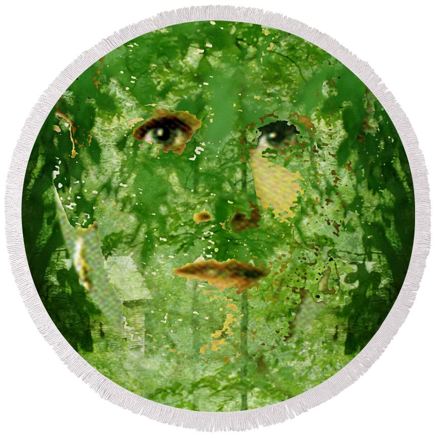 Lady Round Beach Towel featuring the digital art Mother Nature by Seth Weaver