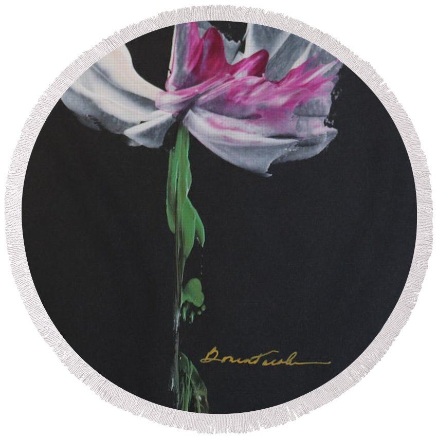 Encaustic Wax Round Beach Towel featuring the painting Mother's Day Bloom by Alexis Bonavitacola
