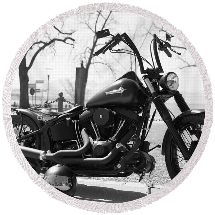 Motorbike Round Beach Towel featuring the photograph Motorbike by FL collection