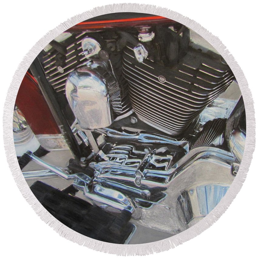 Round Beach Towel featuring the mixed media Motorcycle Close Up 1 by Anita Burgermeister