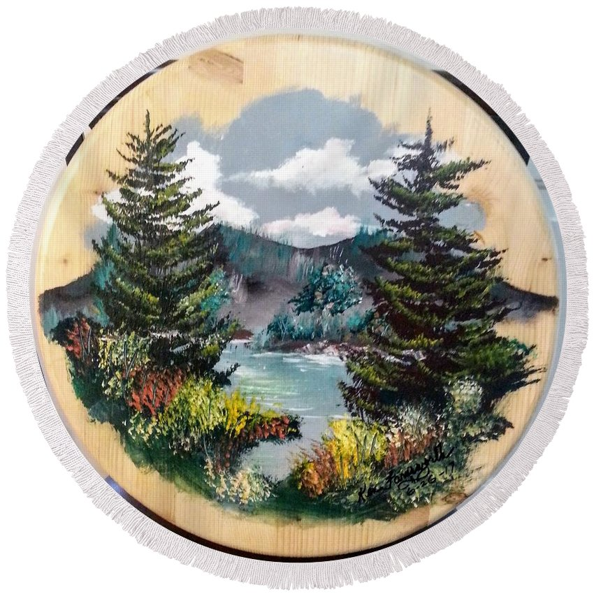 Kandscape Round Beach Towel featuring the painting Mountain Lake by Ken Farnsworth