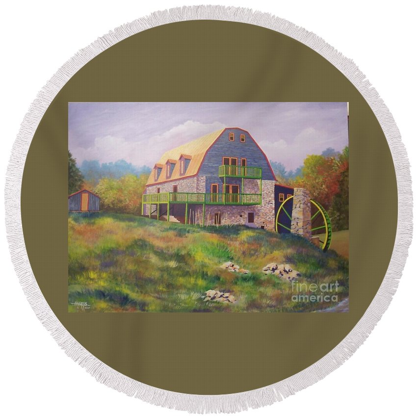 Mill Round Beach Towel featuring the painting Mountain Mill by Hugh Harris