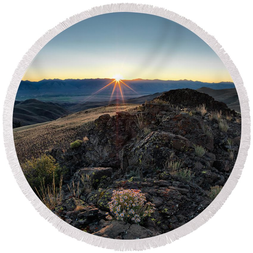 Lemhi Mountains Round Beach Towel featuring the photograph Mountain Sunrise by Leland D Howard