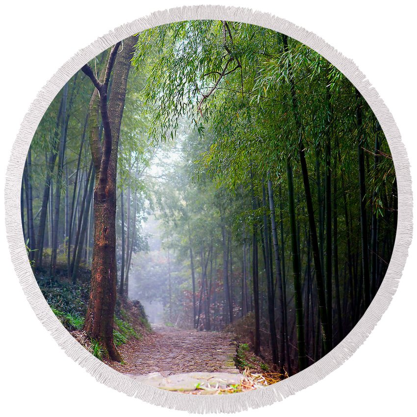 Trees Round Beach Towel featuring the photograph Mountain Trail by James O Thompson