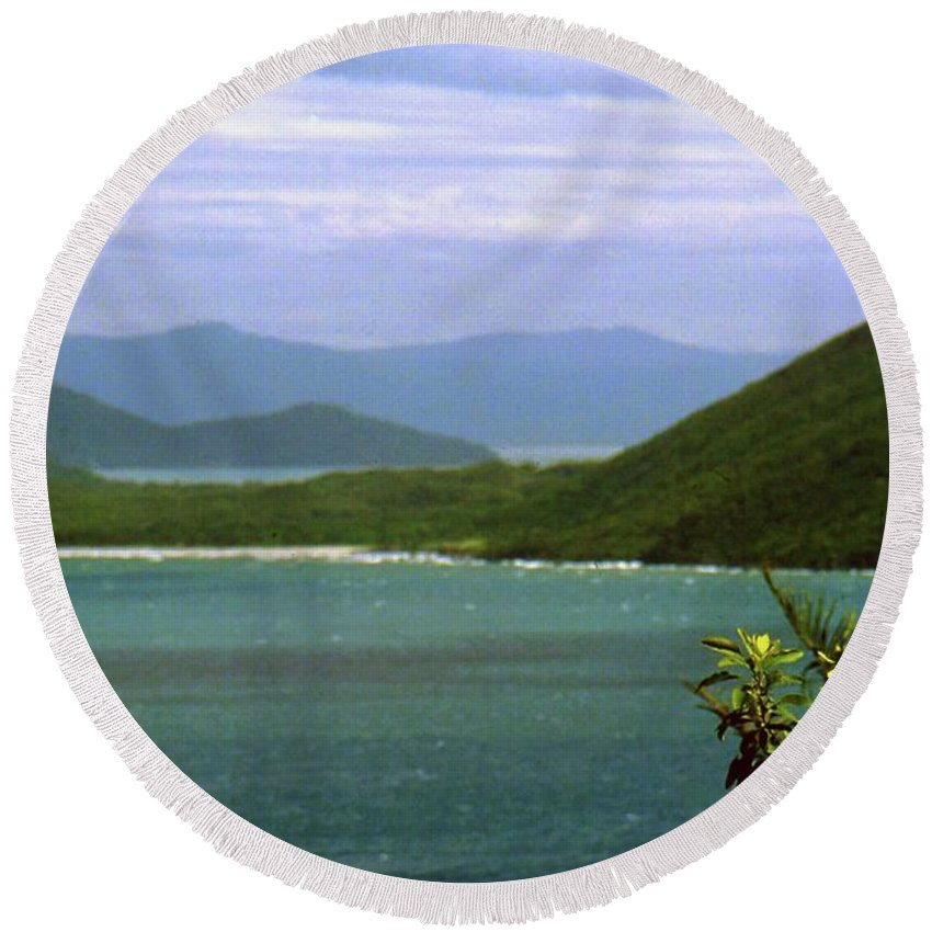 Mountains Round Beach Towel featuring the photograph Mountain View by Gary Wonning
