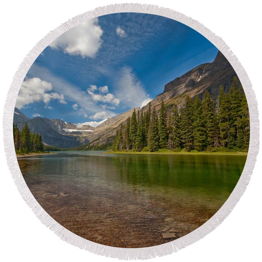 Nature Round Beach Towel featuring the photograph Moutain Lake by Sebastian Musial
