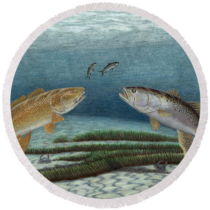 Redfish Round Beach Towel featuring the drawing Mutual Pursuit by Daniel Lindvig