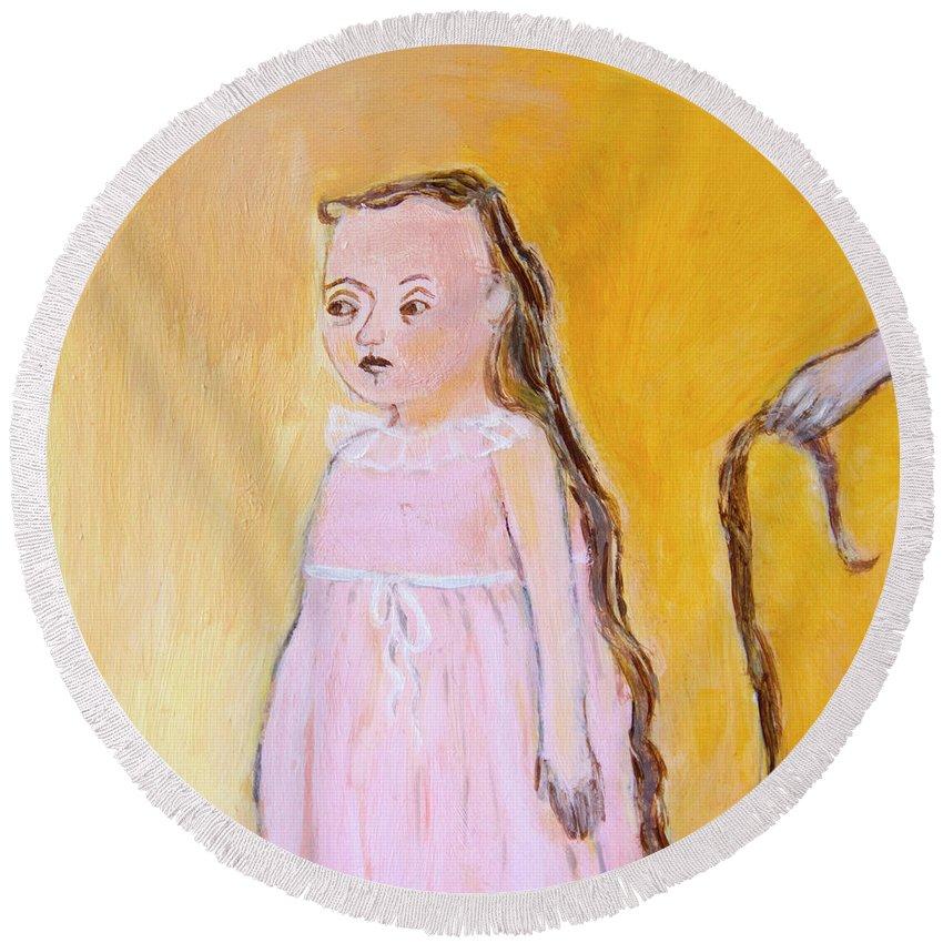 My Beautiful Long Hair Round Beach Towel featuring the painting My Beautiful Long Hair by Ana Gonzalez