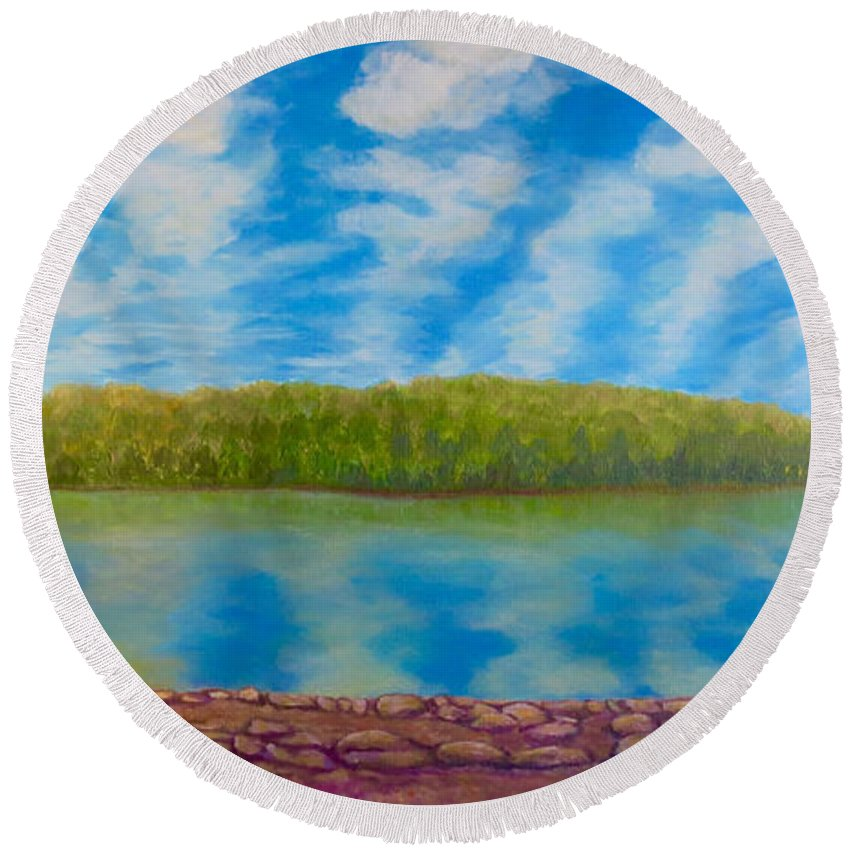 Serene Painting Fort Loudon Lake Reflection On Bright Blue Lake Water Nature Scene Lake Paintings Acrylic Paintings Round Beach Towel featuring the painting My Serenity Lies In A Place Between Heaven And Earth by Kimberlee Baxter