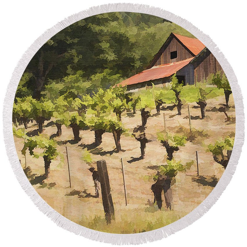 Vineyard Round Beach Towel featuring the photograph Napa Barn by Sharon Foster
