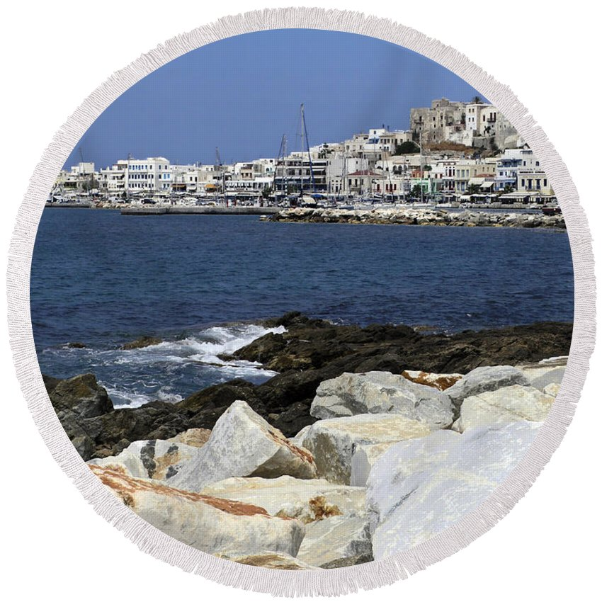 Harbor Scene Round Beach Towel featuring the photograph Naxos Greece Harbor by Sally Weigand
