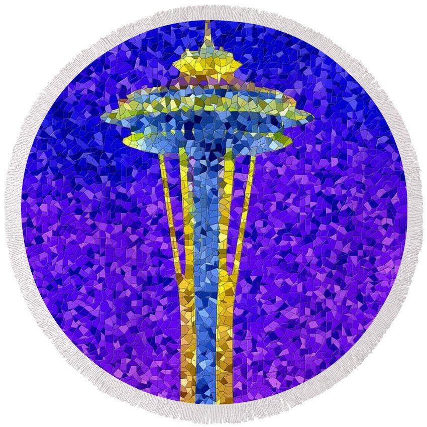 Seattle Round Beach Towel featuring the photograph Needle In Mosaic by Tim Allen