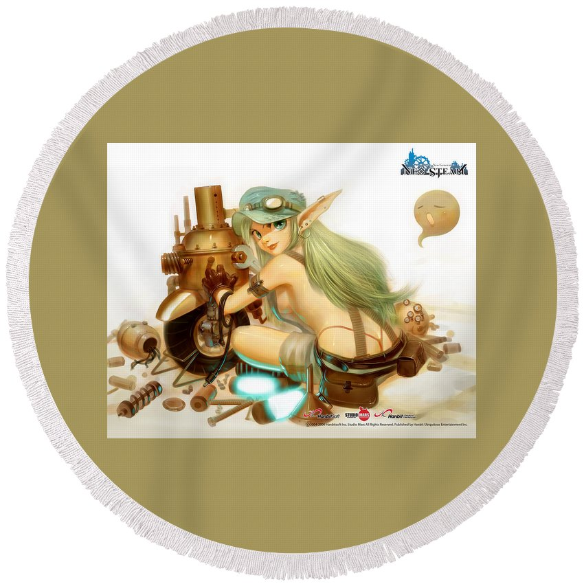 Neo Steam Round Beach Towel featuring the digital art Neo Steam by Mery Moon
