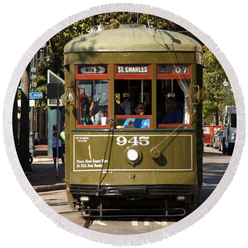 Cable Car Round Beach Towel featuring the photograph New Orleans Cable Car by Anthony Totah