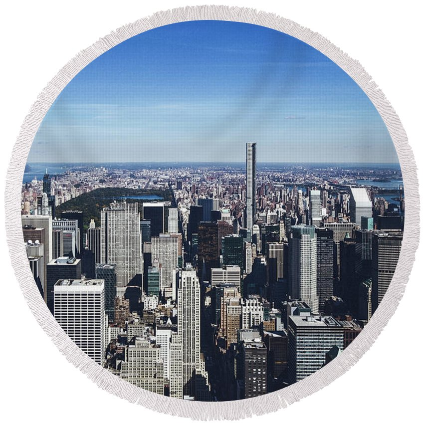 New Round Beach Towel featuring the photograph New York by Brock Wilson