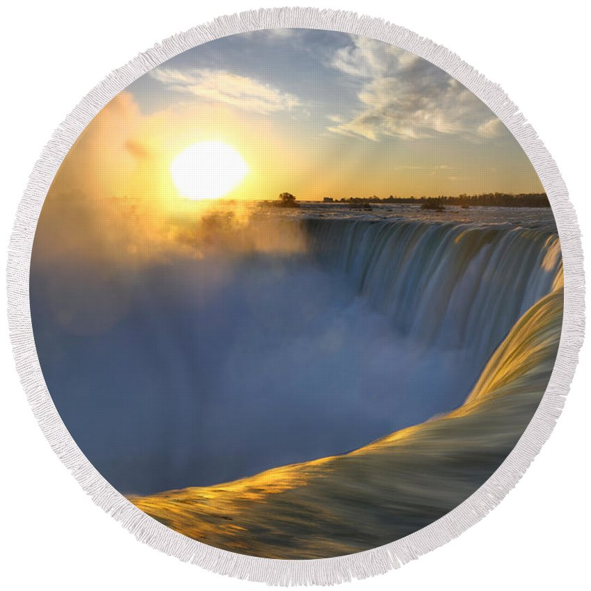 Niagara Falls Round Beach Towel featuring the photograph Niagara Falls by Maxim Images Prints