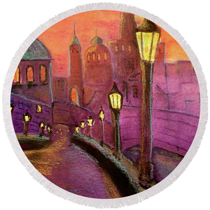 Prague Round Beach Towel featuring the painting Prague by Carolyn Curtice