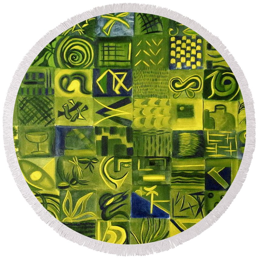 Green Round Beach Towel featuring the painting Night On The Lawn by Patricia Cleasby