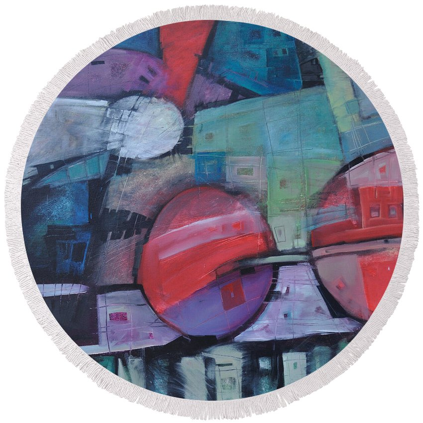 Train Round Beach Towel featuring the painting Night Train by Tim Nyberg