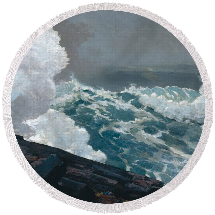 Northeaster Round Beach Towel featuring the painting Northeaster, 1895 by Winslow Homer