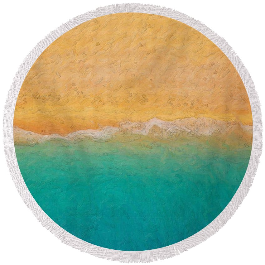 �not Quite Rothko� Collection By Serge Averbukh Round Beach Towel featuring the photograph Not Quite Rothko - Surf And Sand 1 by Serge Averbukh
