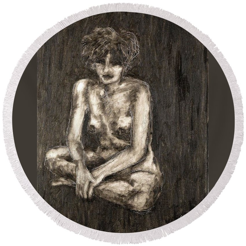 Clay Round Beach Towel featuring the painting Nude by Thomas Valentine