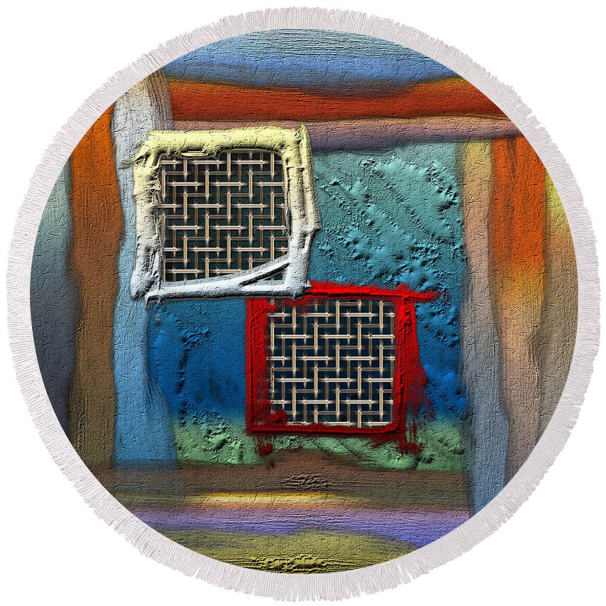 'abstracts Plus' Collection By Serge Averbukh Round Beach Towel featuring the photograph Obstructed Ocean View by Serge Averbukh