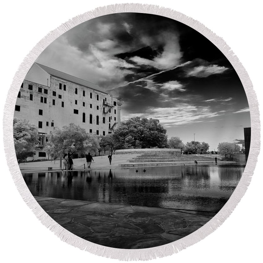Bombing Round Beach Towel featuring the photograph Okc Memorial Xiv by Ricky Barnard
