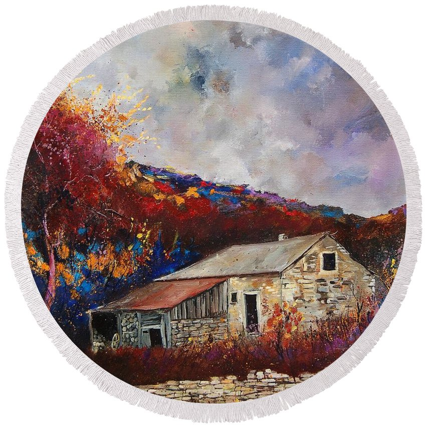 Village Round Beach Towel featuring the painting Old Barn by Pol Ledent