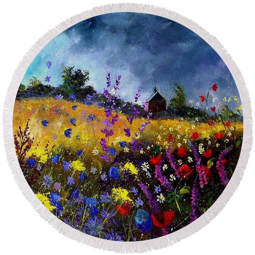 Flowers Round Beach Towel featuring the painting Old Chapel And Flowers by Pol Ledent