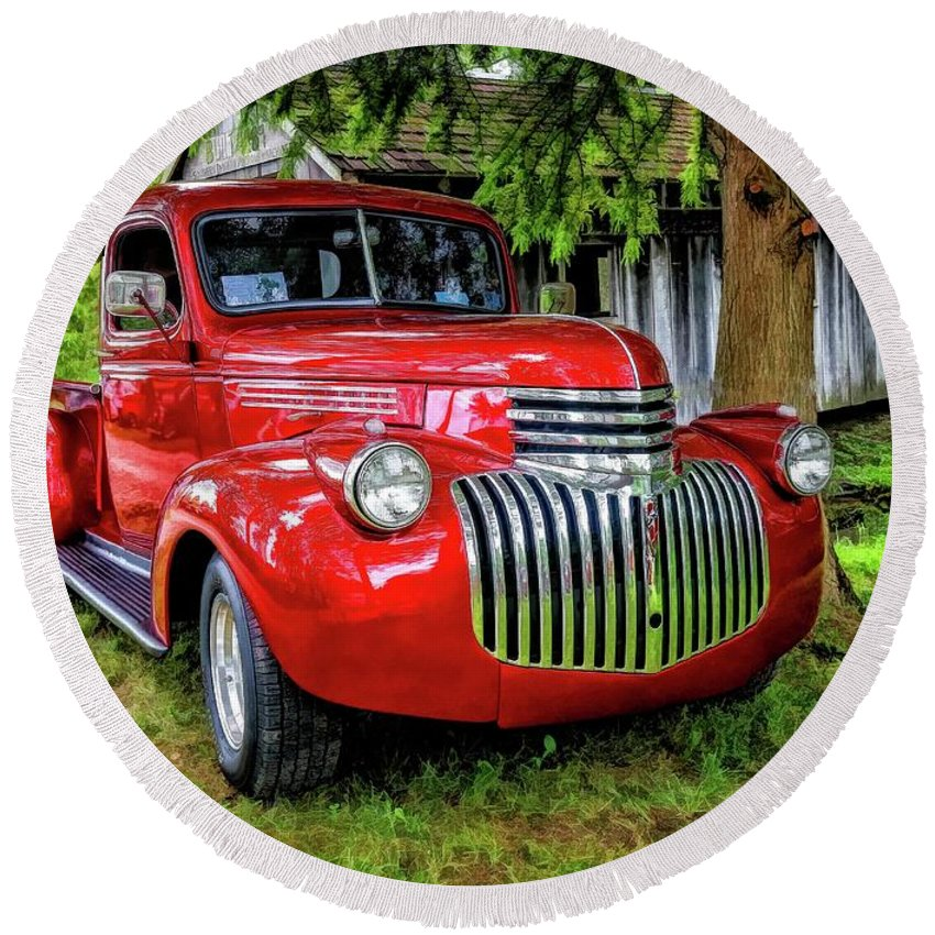 Warrena J. Barnerd Round Beach Towel featuring the photograph Old Chevy Truck by Warrena J Barnerd