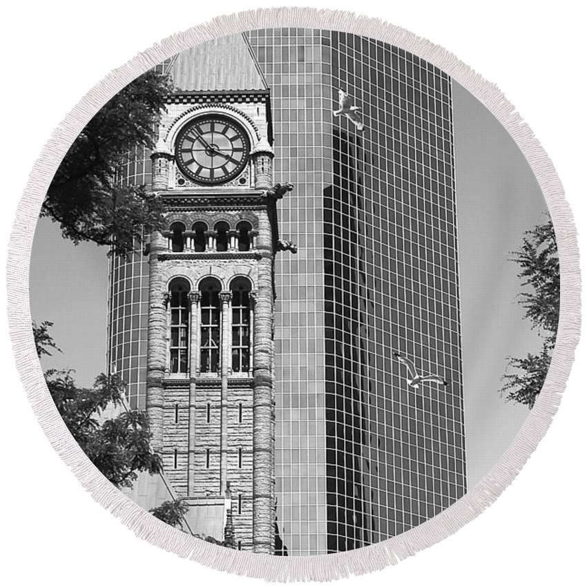 Toronto Round Beach Towel featuring the photograph Old City Hall by Rick Shea