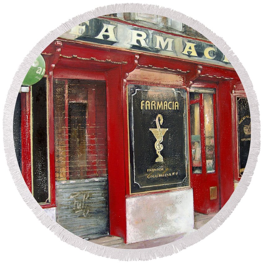 Farmacia Round Beach Towel featuring the painting Old Pharmacy by Tomas Castano