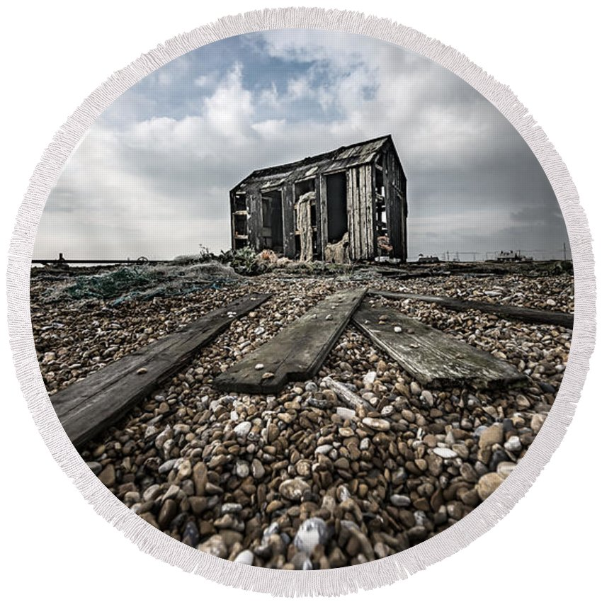 Damaged Round Beach Towel featuring the photograph Old Shed by Svetlana Sewell