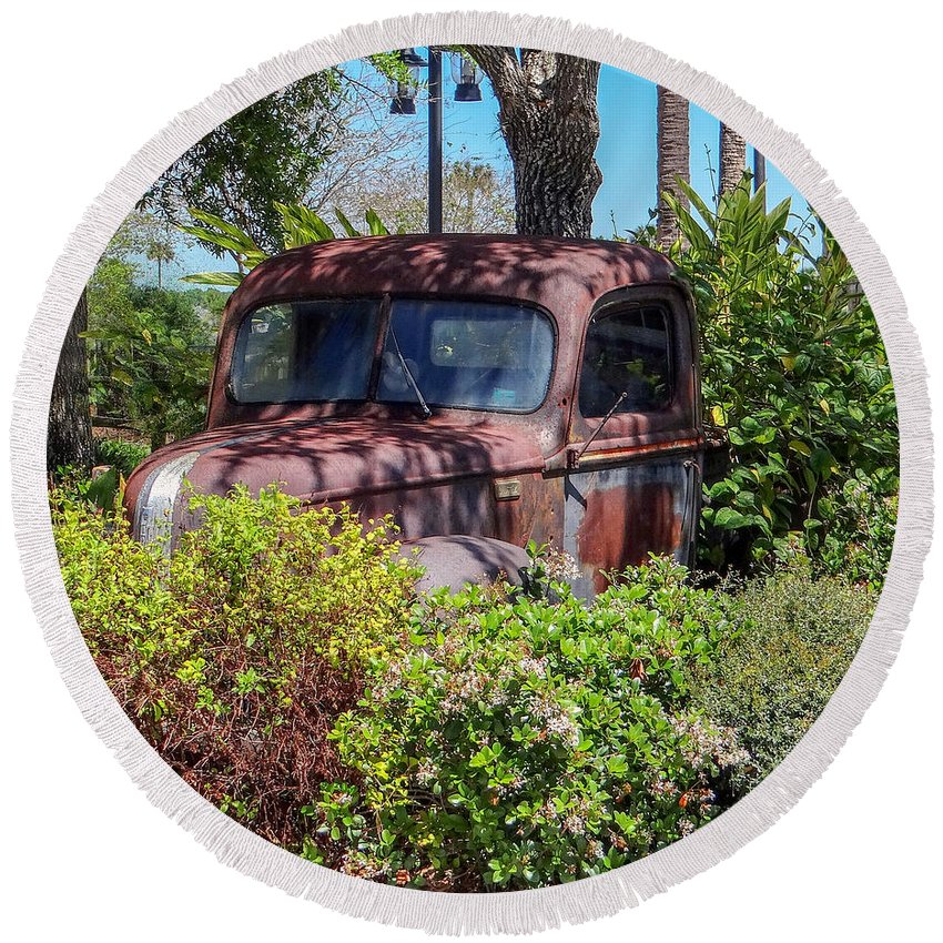 Retired Round Beach Towel featuring the photograph Old Truck by Dennis Dugan