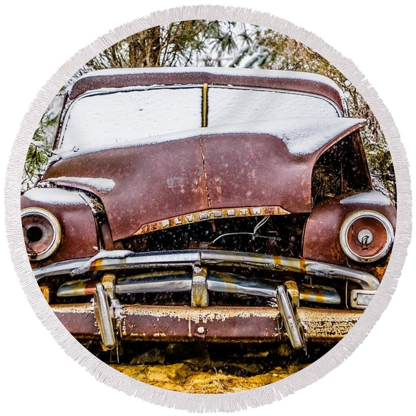 Metal Round Beach Towel featuring the photograph Old Vintage Plymouth Automobile In The Woods Covered In Snow by Alex Grichenko