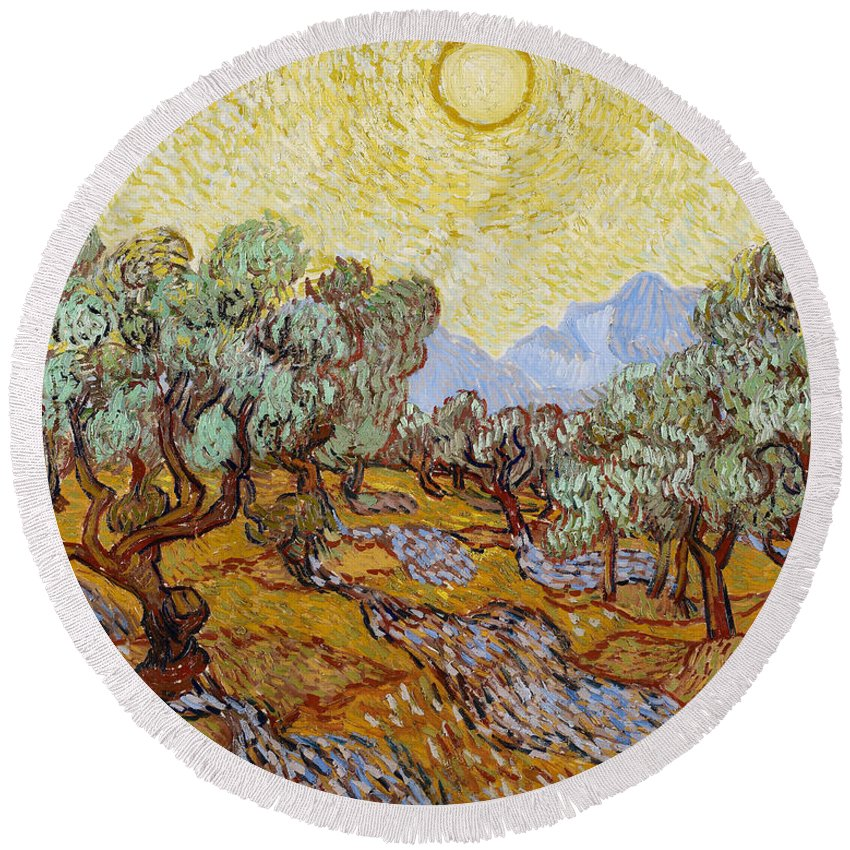 Dutch Round Beach Towel featuring the painting Olive Trees With Yellow Sky And Sun by Vincent van Gogh