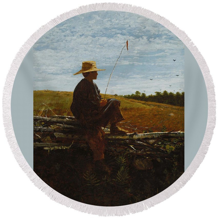 On Guard By Winslow Homer Round Beach Towel featuring the painting On Guard by MotionAge Designs