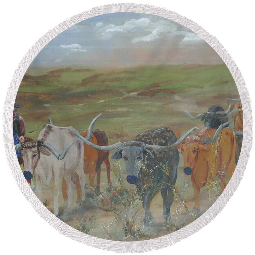 On The Chisholm Trail Round Beach Towel featuring the painting On The Chisholm Trail by Gail Daley