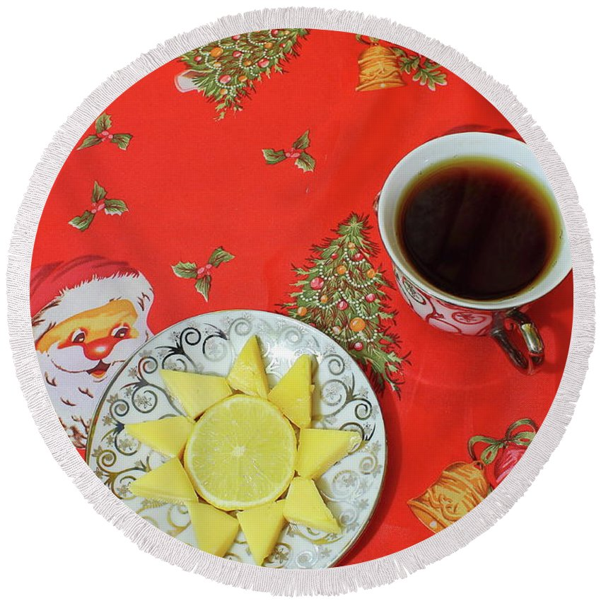 Red Round Beach Towel featuring the photograph On The Eve Of Christmas. Tea Drinking With Cheese. by Mariia Kilina
