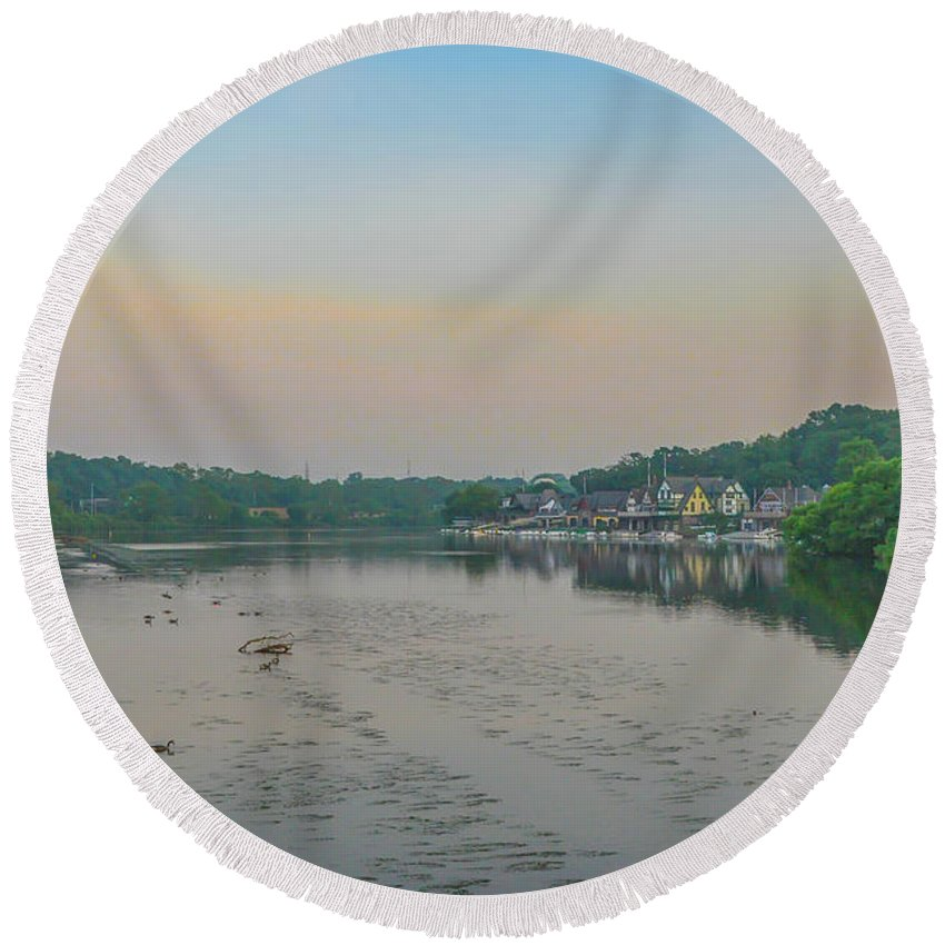 The Round Beach Towel featuring the photograph On The Schuylkill River At Boathouse Row - Philadelphia by Bill Cannon