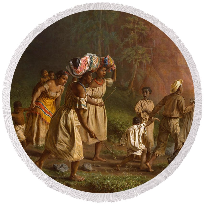 Theodor Kaufmann Round Beach Towel featuring the painting On To Liberty by Theodor Kaufmann