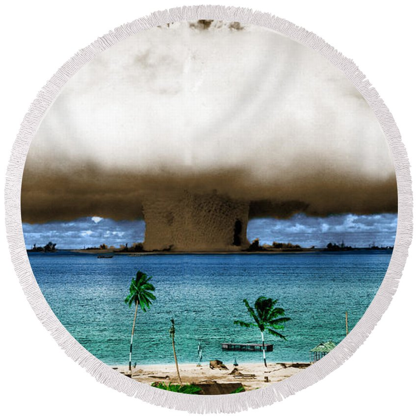 Science Round Beach Towel featuring the photograph Operation Crossroads Baker, 1946 by Science Source