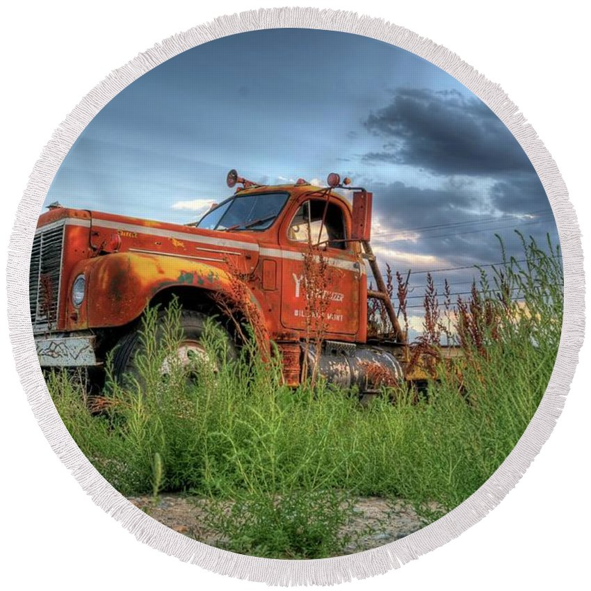 Truck Round Beach Towel featuring the photograph Orange Truck by Dave Rennie