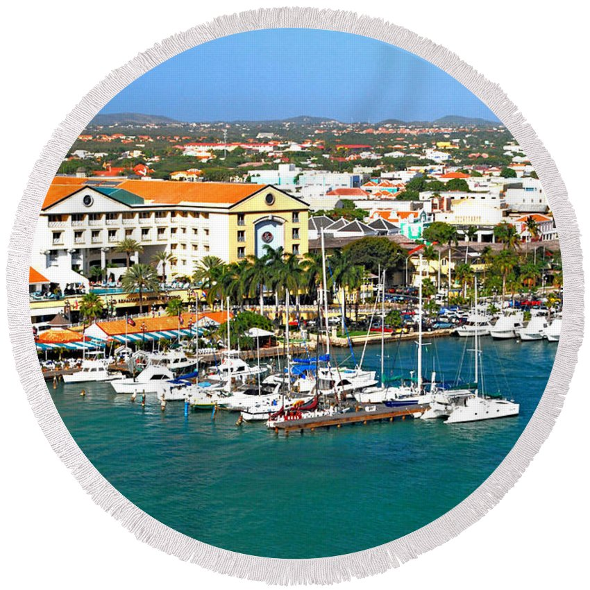 Aruba Round Beach Towel featuring the photograph Oranjestad Aruba by Gary Wonning