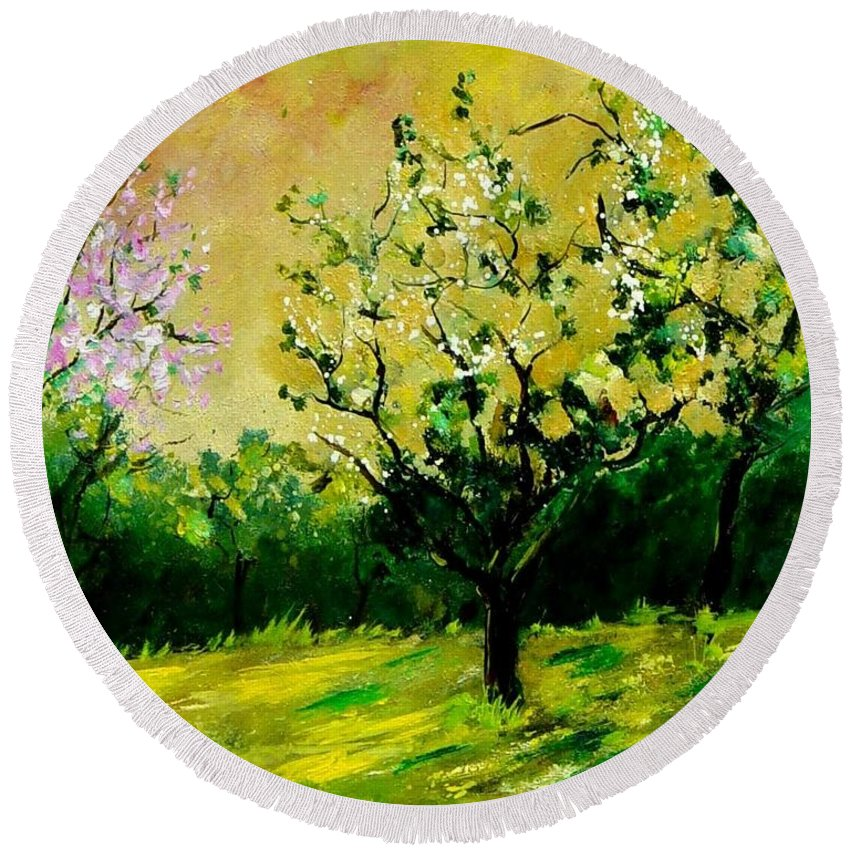 Landscape Round Beach Towel featuring the painting Orchard by Pol Ledent