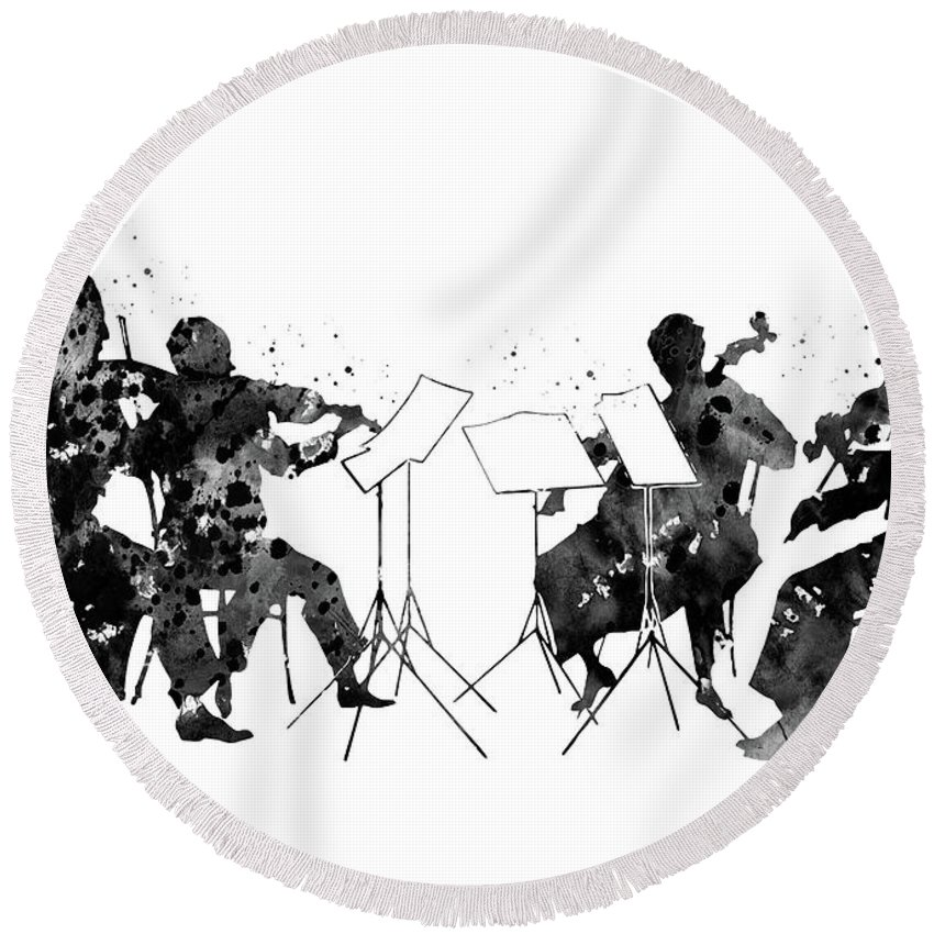 Orchestra Round Beach Towel featuring the digital art Orchestra by Erzebet S