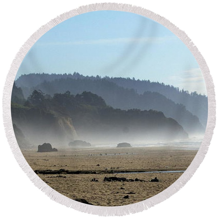 Ocean Round Beach Towel featuring the photograph Oregon Coast 8 by Marty Koch