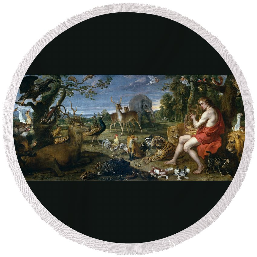 Animal Round Beach Towel featuring the painting Orpheus And Animals by Frans Snyders