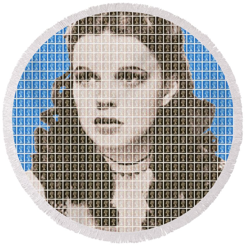 Judy Garland Round Beach Towel featuring the painting Over The Rainbow Blue by Gary Hogben